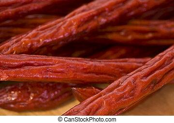 uno, mucchio, di, pepperoni, appiccicare