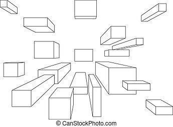 Uno, Muchos, cubos, perspectiva, punto