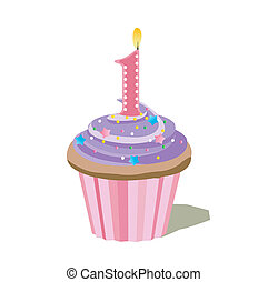 uno, número, cupcake