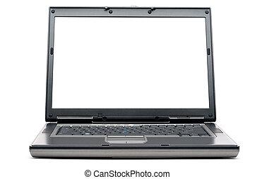 uno, nero, computer, quaderno, bianco, con, uno, schermo vuoto