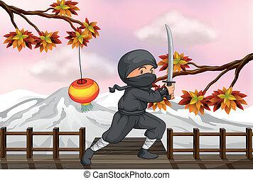 uno, ninja, con, uno, spada