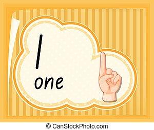 uno, numero, guida, gesto, mano