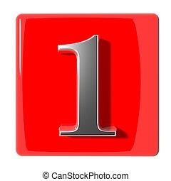 uno, numero, icona