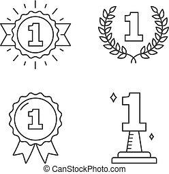 uno, numero, icone