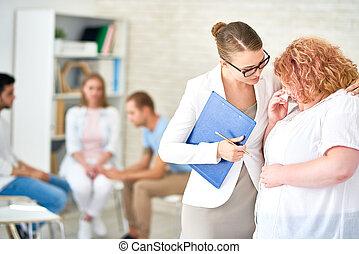 uno, obeso, donna parlando, psichiatra