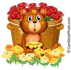 uno, orso, davanti, il, cesto, con, rose rosse