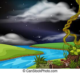 uno, paesaggio fiume, notte