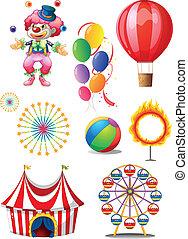 uno, pagliaccio, gioco, palle, con, differente, circo,...