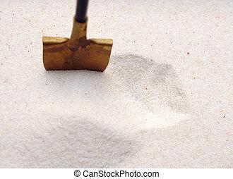 uno, pala, in, uno, sabbia