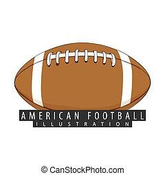 uno, palla, per, football americano, closeup