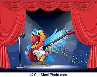 uno, pappagallo, con, uno, chitarra, a, il, palcoscenico