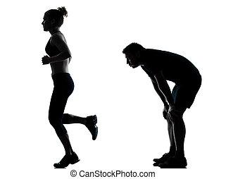 uno, pareja, mujer hombre, ejercitar, entrenamiento, condición física
