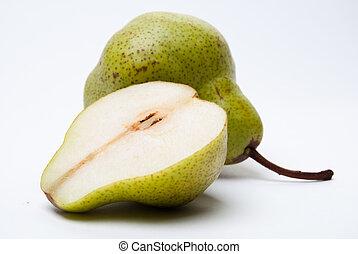 uno, pera, con, uno, fetta, isolato, bianco