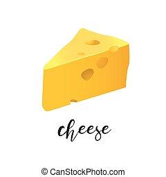 uno, pezzo, di, formaggio, vettore, illustrazione, isolato, bianco, fondo
