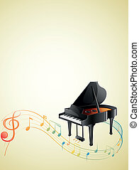 uno, pianoforte, con, uno, g-clef, e, note musicali