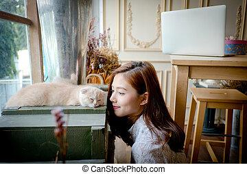 uno, piccola ragazza, con, uno, carino, gatto, .