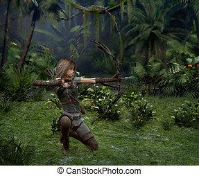 uno, poco, cacciatore, in, il, giungla, 3d, cg
