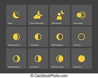 uno, por, luna, icons., mes