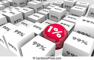 uno, porcentaje, 1, contra, 99, mayoría, minoría, diferente, outlier, 3d, ilustración