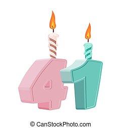 uno, quaranta, 41, festivo, numero, anni, anniversario, birthday., candela, vacanza, cake.