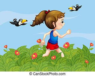 uno, ragazza, camminare, a, il, giardino, con, uccelli