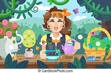 uno, ragazza, fiori innaffiamento, giardino