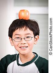 uno, ragazzo, con, un, mela