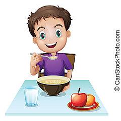 uno, ragazzo, mangiare, suo, colazione, tavola