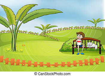 uno, ragazzo sedendo, parco, con, suo, coccolare