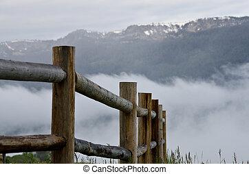 uno, recinto, in, il, nebbia