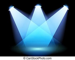 uno, riflettore, a, il, palcoscenico