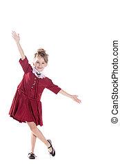 uno, ritratto, di, uno, allegro, piccola ragazza, marche, uno, gesto mano, isolato, su, il, sfondo bianco