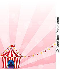 uno, rosso, tenda circus, con, bandiere