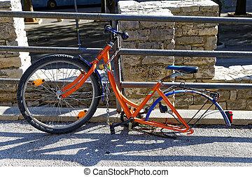 uno, rueda, bicicleta