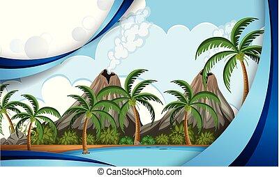 uno, sagoma, di, vulcano, isola