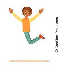 uno, saltar, hombre, africano