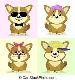uno, set, di, carino, cane, caratteri, in, differente, immagini, in, il, stile, di, uno, cartoon.