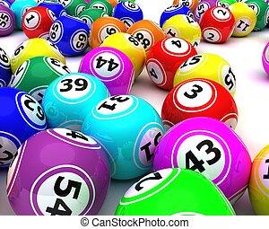 uno, set, di, colorato, bingo, palle