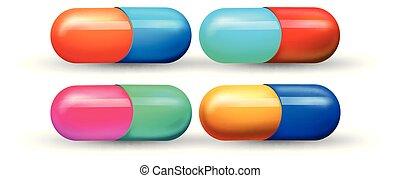 uno, set, di, colorito, capsula