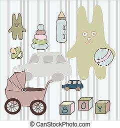 uno, set, di, differente, vettore, giocattoli