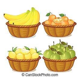 uno, set, di, frutta, in, cesto
