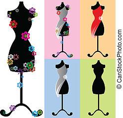 uno, set, di, indossatrici, (dummies), decorato, con, fiori