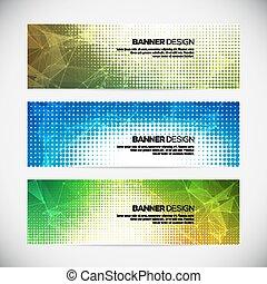 uno, set, di, moderno, vettore, bandiere, con, polygonal, fondo, e, halftone, elementi