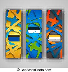 uno, set, di, moderno, vettore, bandiere