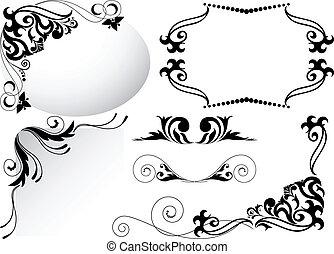 uno, set, di, nero, ornamenti