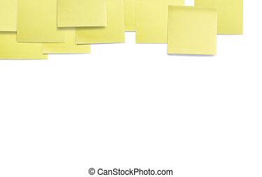 uno, set, di, office/work, relativo, giallo, carta colorata, appiccicoso, note., isolato, bianco, fondo.