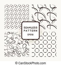 uno, set, di, quattro, vettore, seamless, patterns., curls., circles.