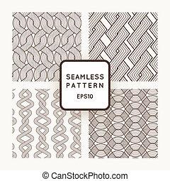 uno, set, di, quattro, vettore, seamless, patterns., scythe., ropes., weaving.