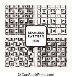 uno, set, di, quattro, vettore, seamless, patterns., squares., intersection.