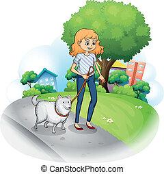uno, signora, passeggiare, con, lei, cane